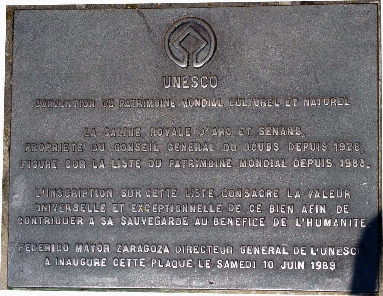 Plaque de l'UNESCO