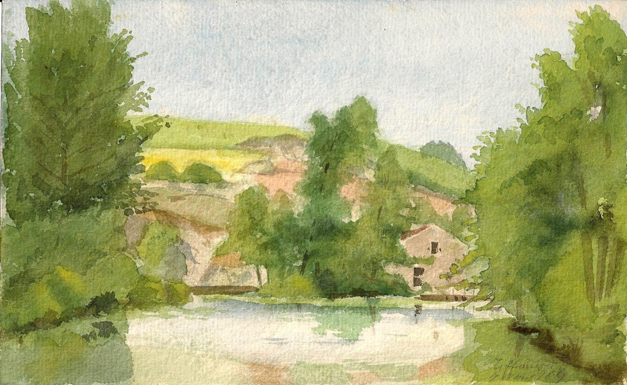 Aquarelle du château de Tiffauges. GB 1889.