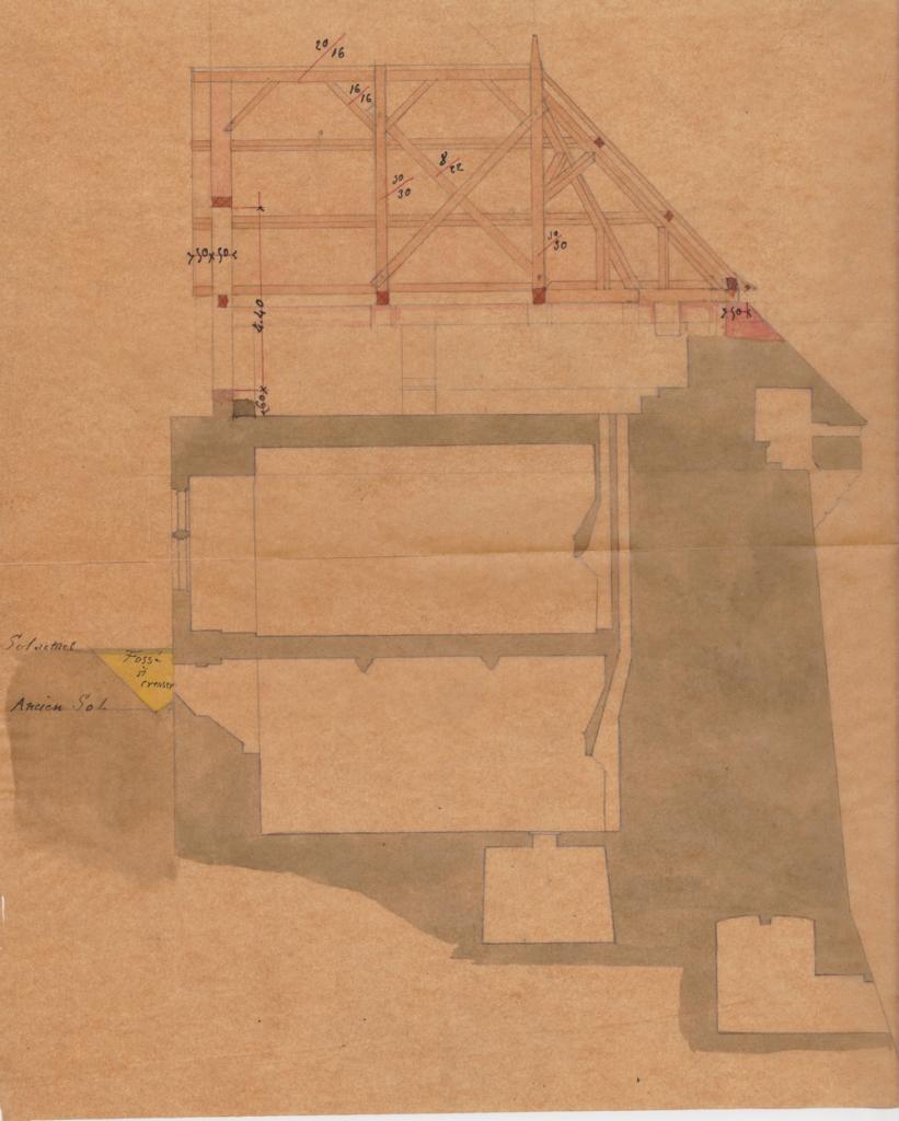 plande reconstruction de la charpente de la tour du Vidame